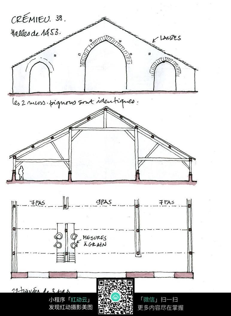 欧式建筑立面平面布局手绘线稿图