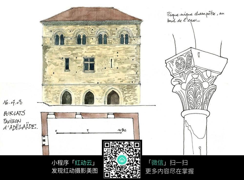欧式建筑立面平面布局手绘线描画