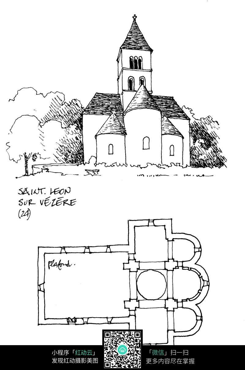 欧式建筑立面平面手绘线描画