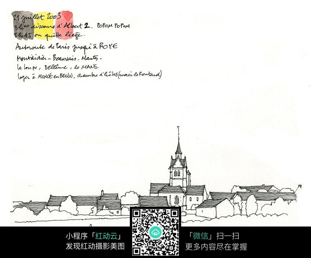 欧式建筑立面手绘线描画_活动场景图片