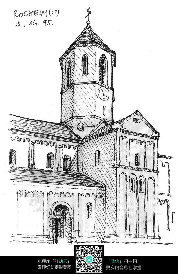 欧式建筑立面手绘线描画