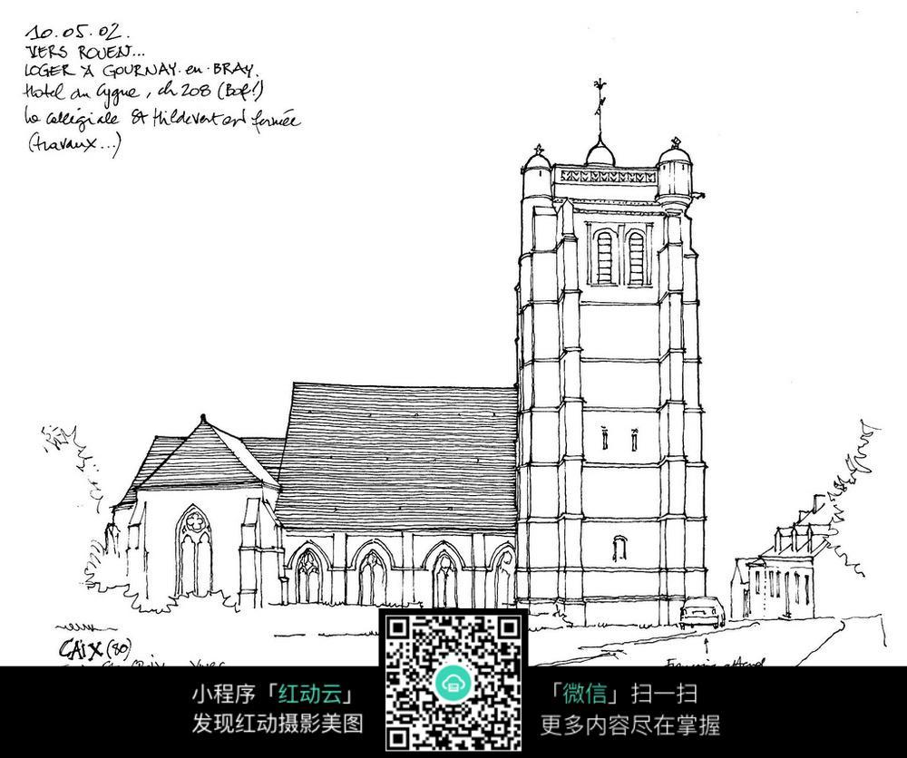 欧式建筑立面手绘线描图