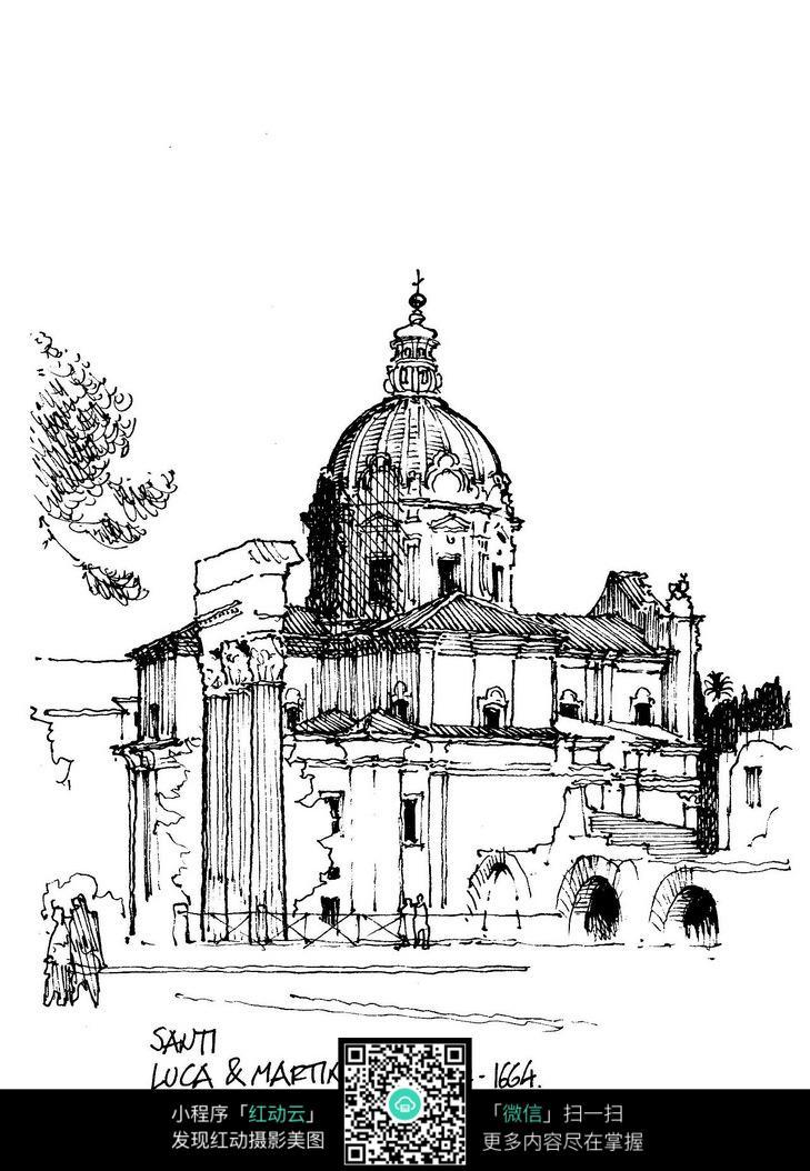欧式建筑立面线描稿图片