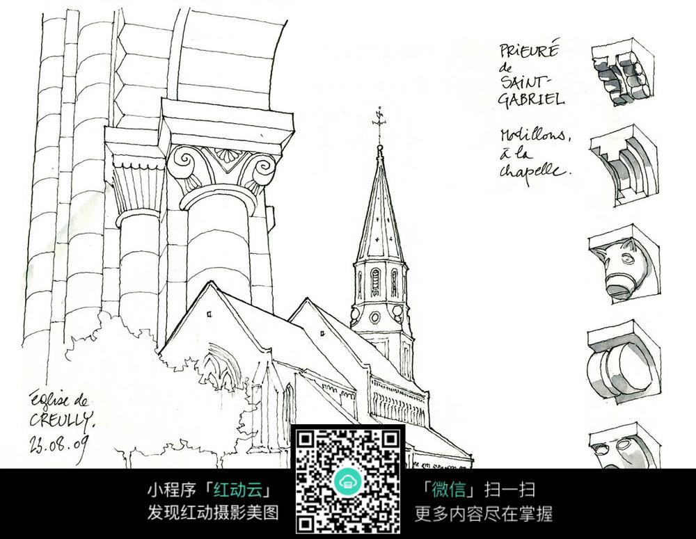 欧式建筑立柱手绘线稿图