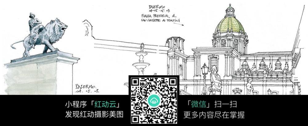 欧式建筑门墩雕塑手绘线稿图