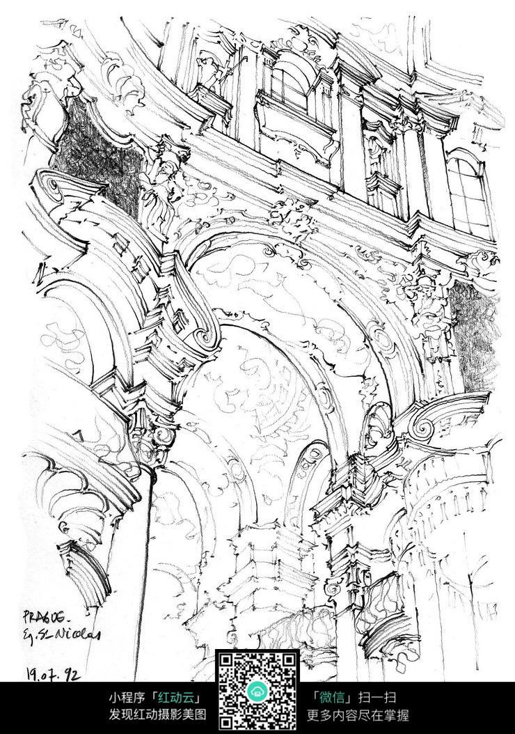 欧式建筑门牌手绘线稿画