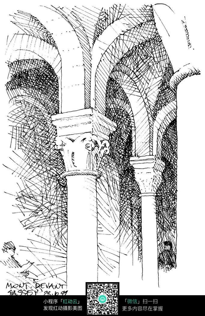 欧式建筑内部拱门手绘素面画