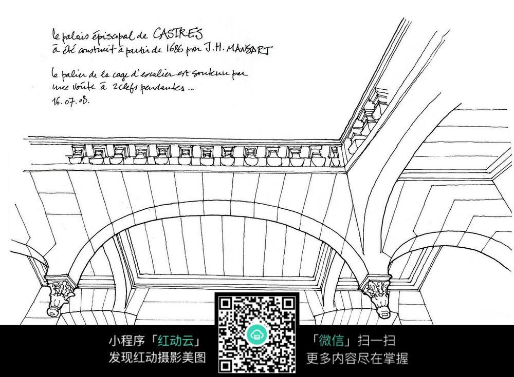 免费素材 图片素材 漫画插画 活动场景 欧式建筑内部仰视手绘线描画