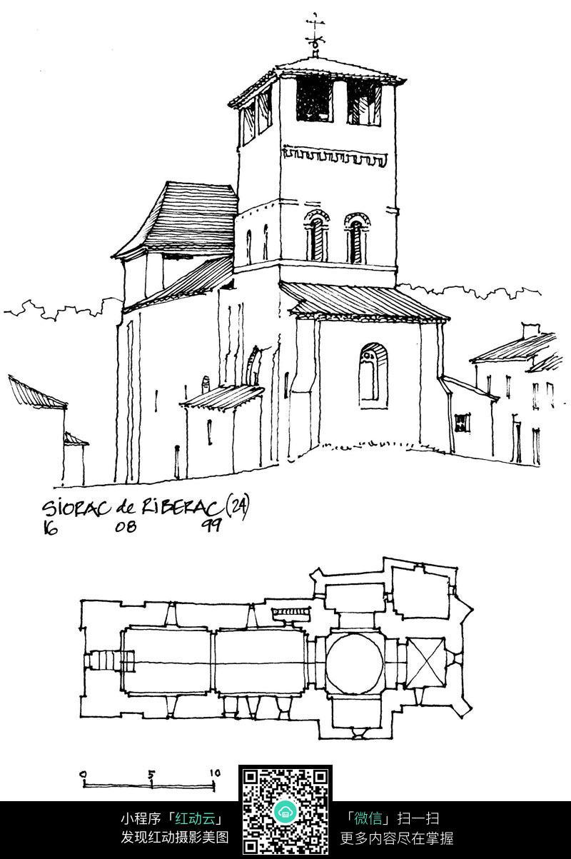 欧式建筑平面布局手绘线稿图图片