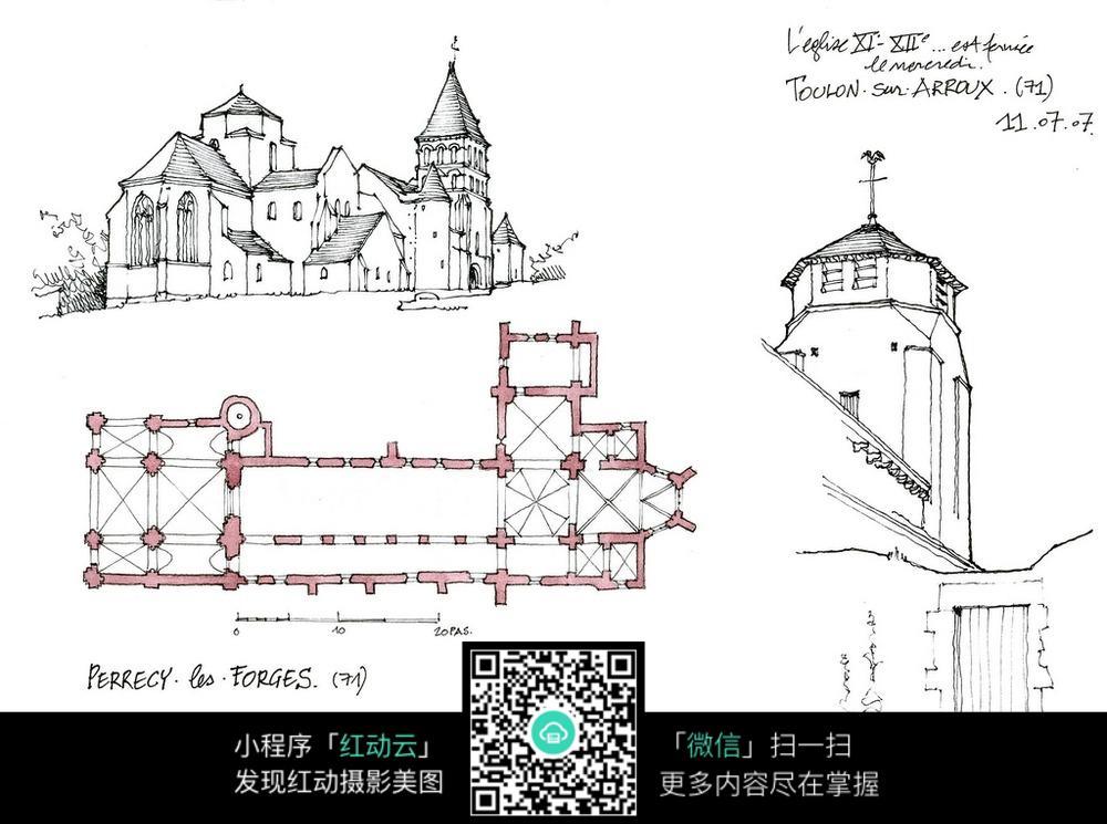 欧式建筑平面手绘线描图