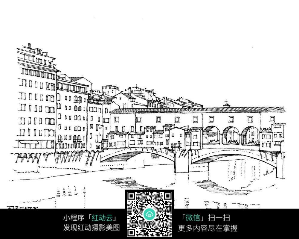 欧式建筑桥梁手绘线稿图