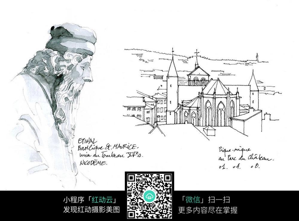 欧式建筑人物雕像手绘线描画_活动场景图片