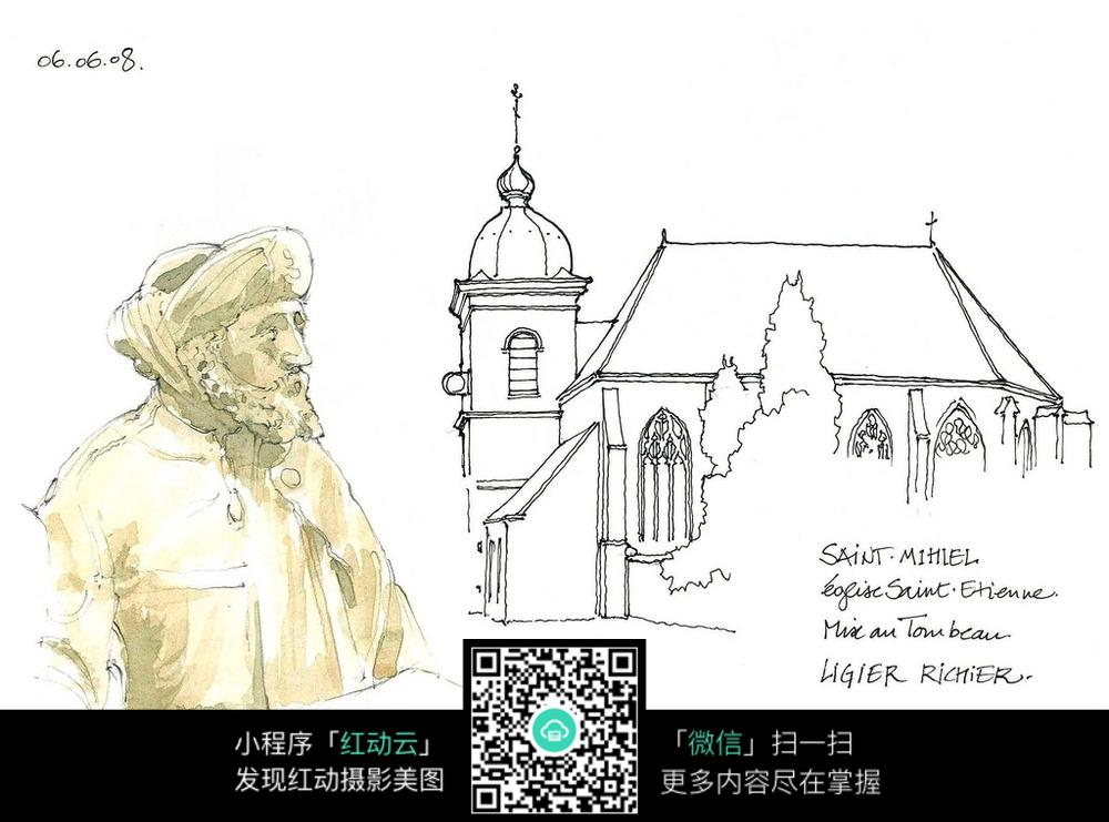 欧式建筑人物雕像手绘线描画