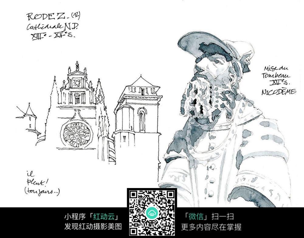 欧式建筑人物雕像手绘线描画图片