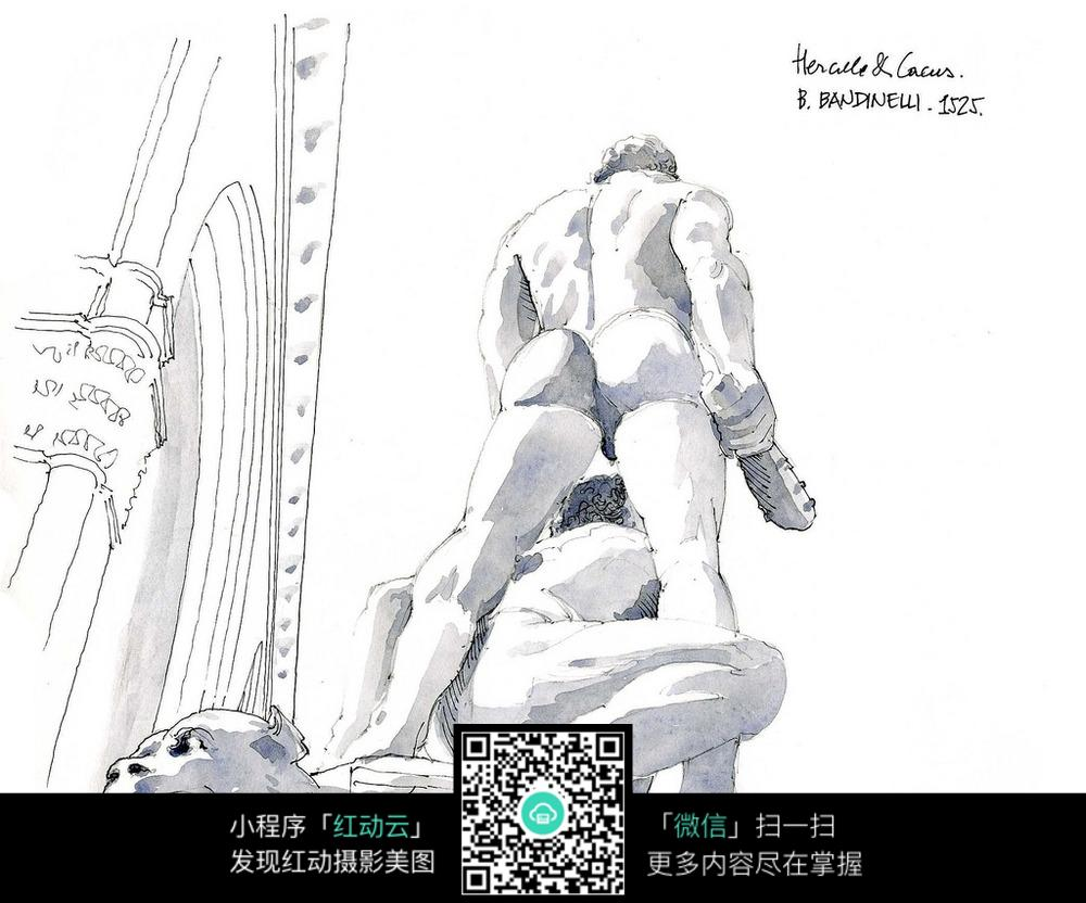 欧式建筑人物动物雕塑手绘线稿图