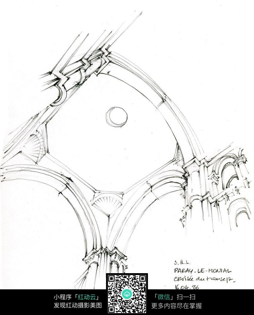 欧式建筑室内顶部手绘线描画