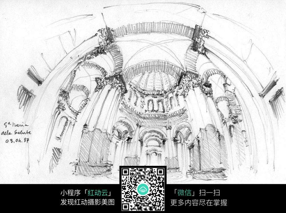 欧式建筑室内空间线描稿图片