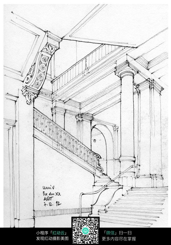 欧式建筑室内楼梯手绘线描图