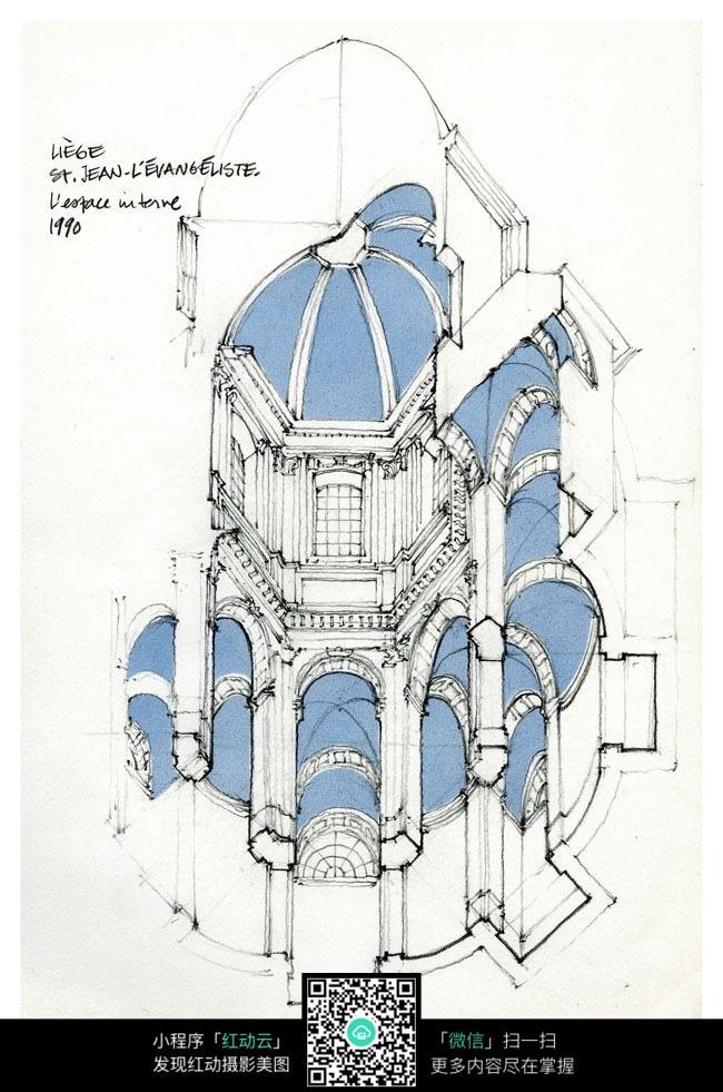 欧式建筑手绘填色图