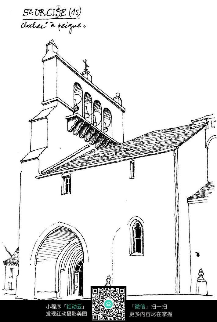 欧式建筑手绘线稿