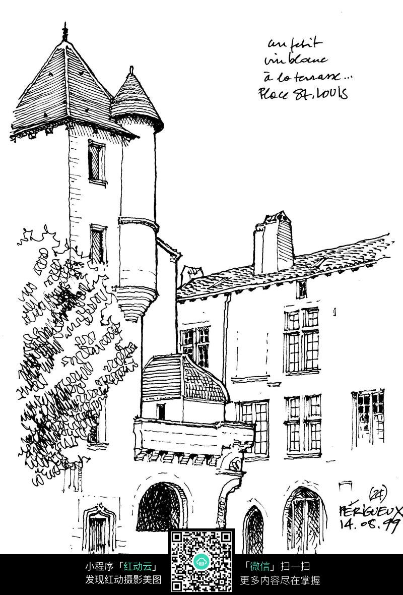 欧式建筑手绘线稿图图片免费下载 编号3701838 红动网