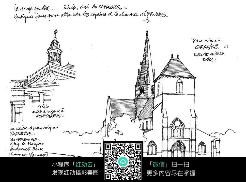 欧式建筑手绘线描稿
