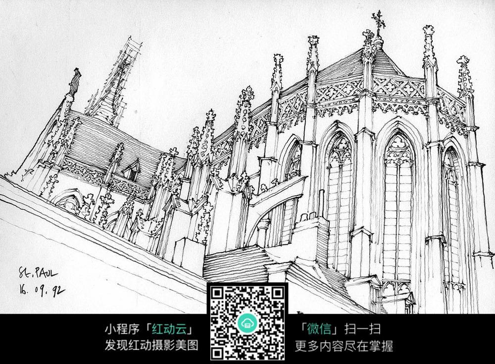 欧式建筑手绘线描图