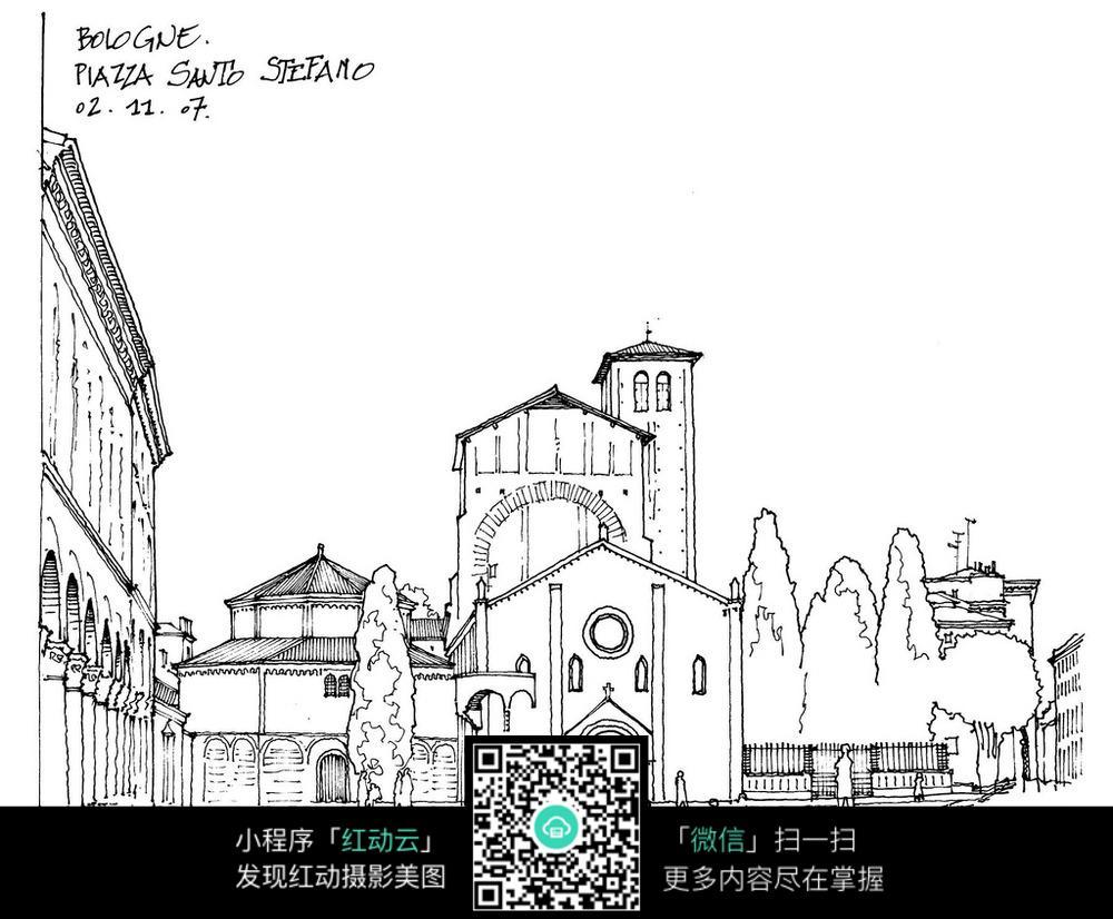 欧式建筑庭院线描稿