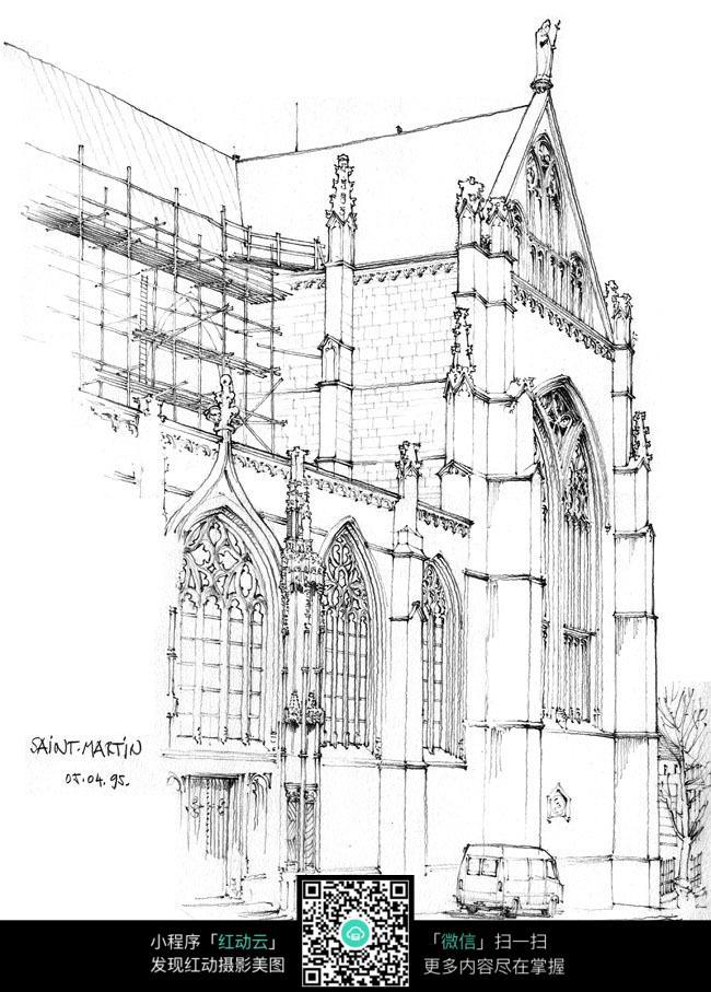 欧式建筑外立面手绘图图片免费下载 编号3702674 红动网