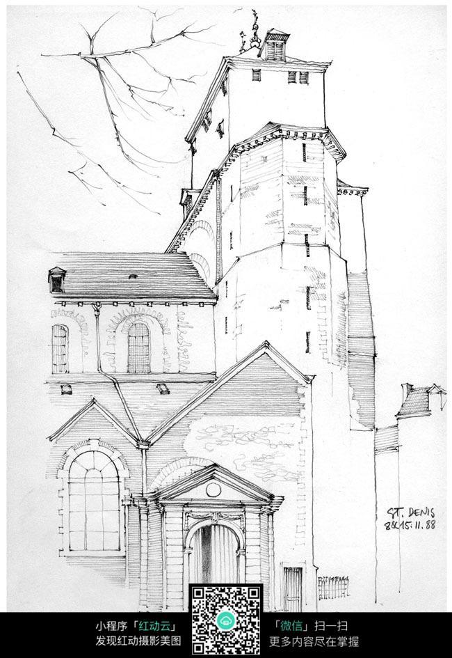 欧式建筑外立面手绘线描画