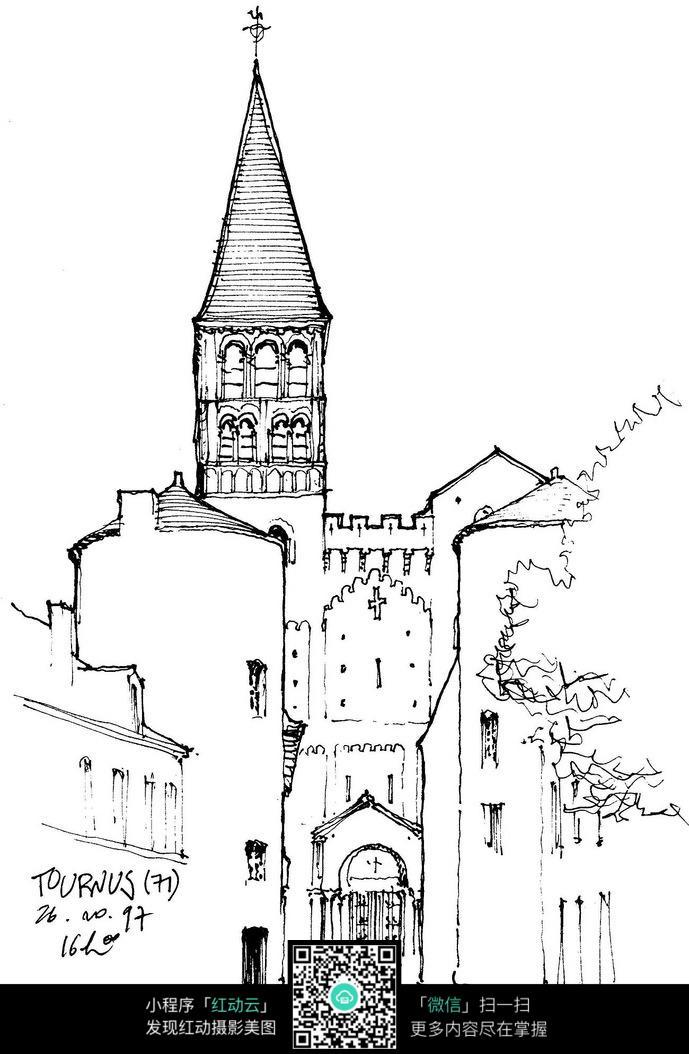欧式建筑小巷手绘线稿画