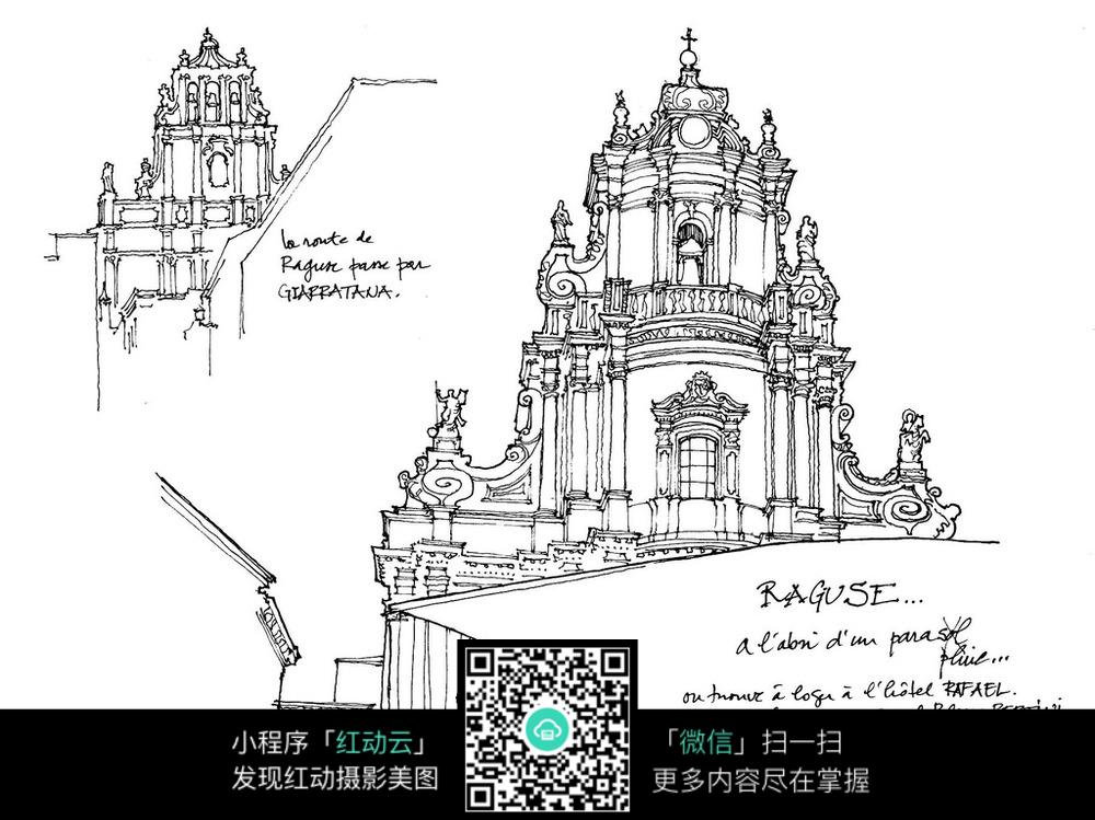 欧式精美牌楼手绘线稿画图片