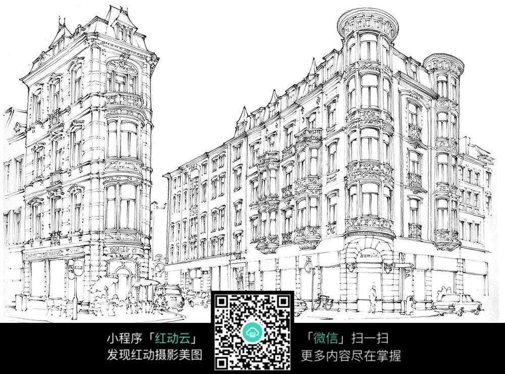欧式居民楼建筑手绘稿