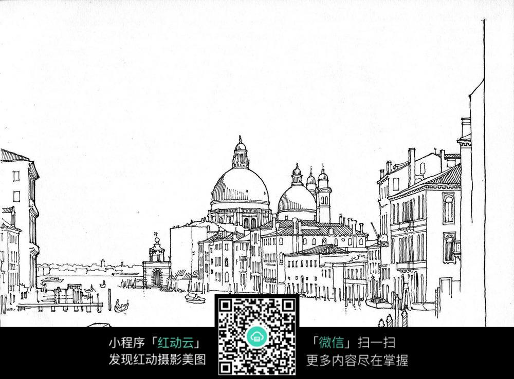 欧式临湖建筑手绘线稿画
