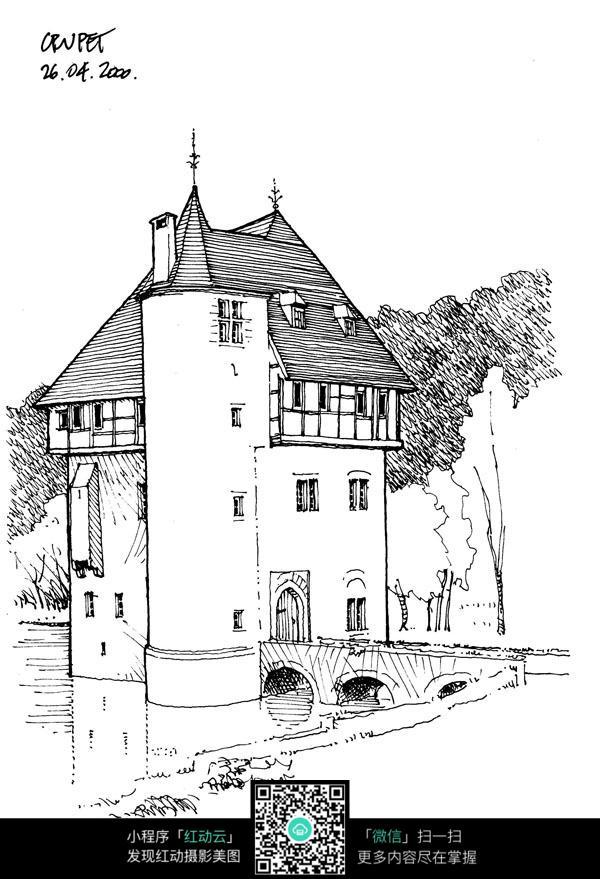 欧式临湖建筑手绘线描画