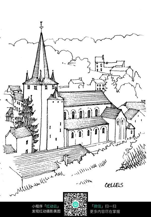 欧式临山建筑手绘线描画图片