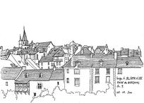 欧式裙楼建筑外立面手绘线描画图片