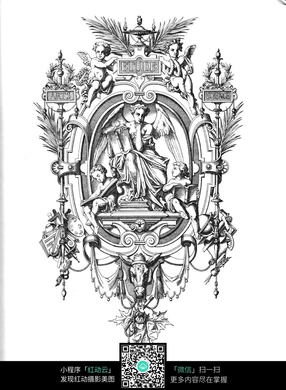 欧式人物雕像装饰图案素材