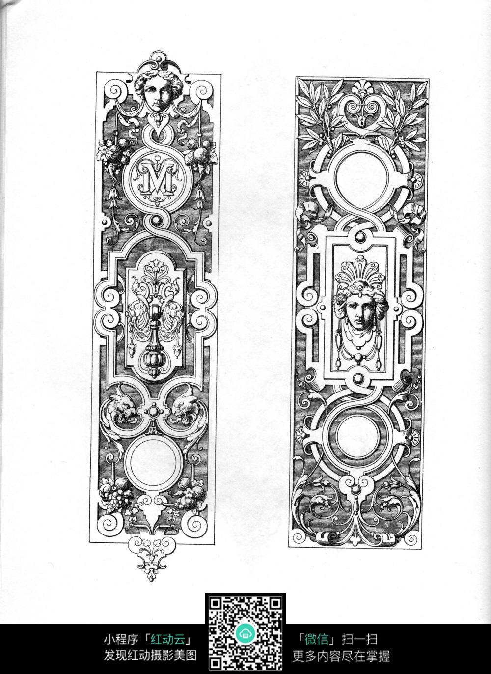 欧式人物花纹边框手绘立体素材_隔断|雕刻图案图片