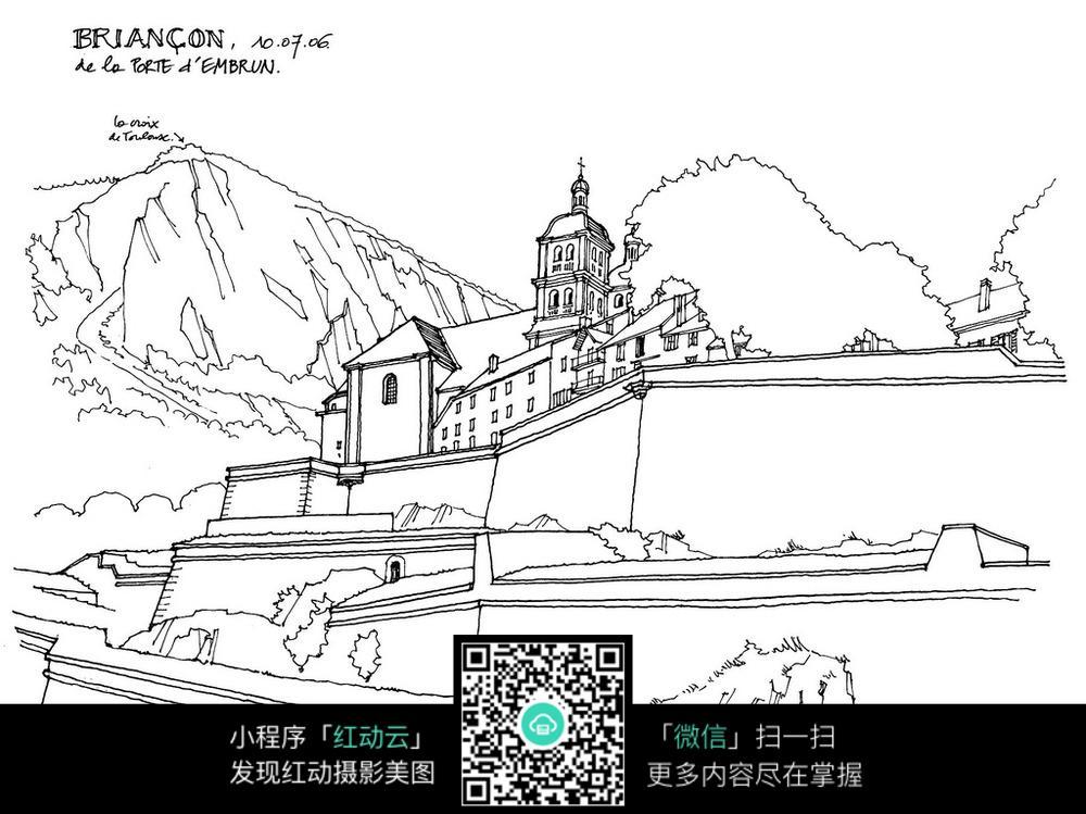 欧式山顶上的建筑手绘线描画