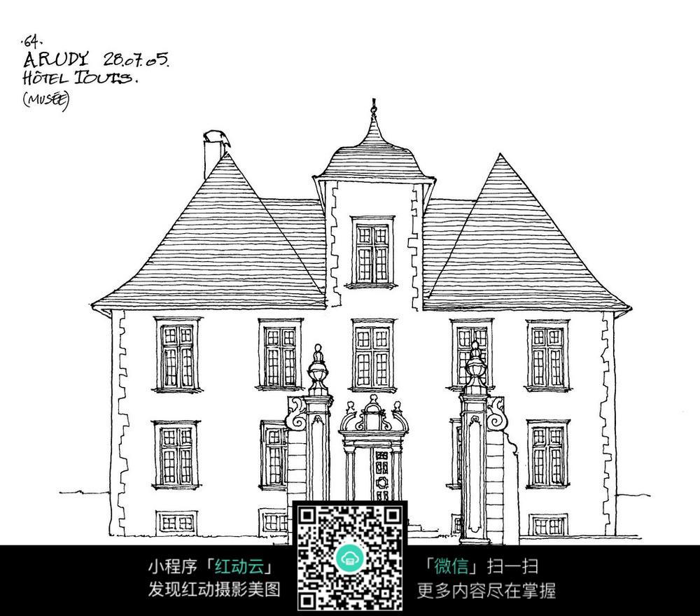 欧式双楼建筑手绘线描图