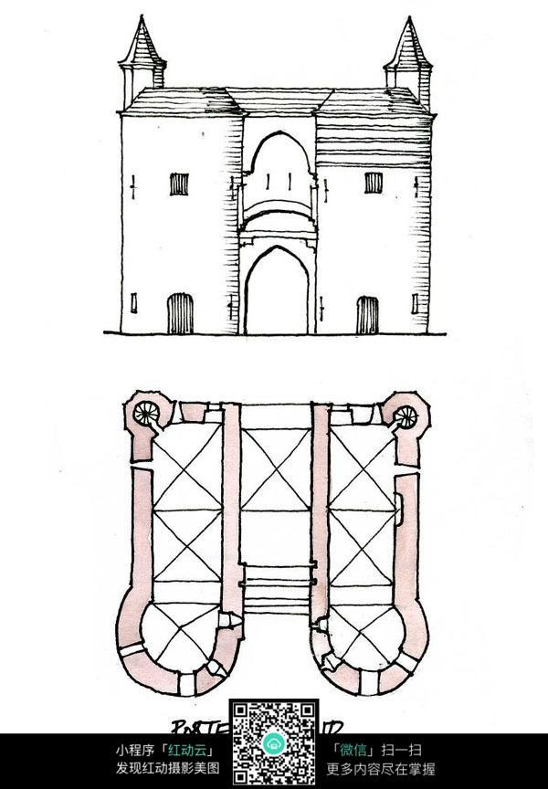 欧式双塔建筑立面平面手绘线描画