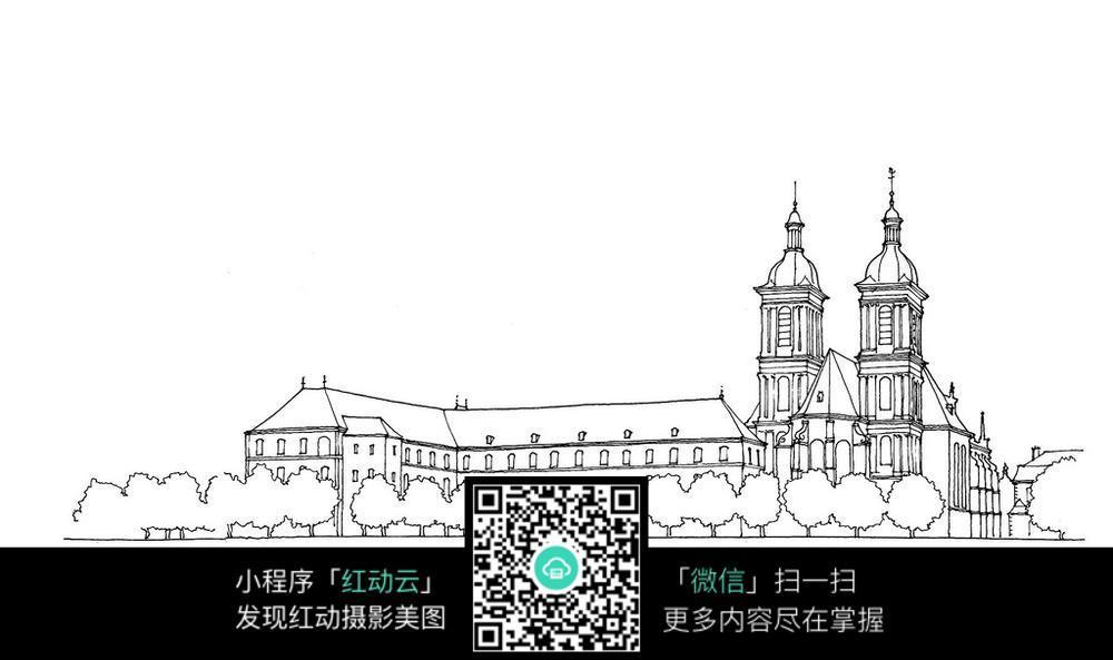 欧式双塔建筑立面手绘线稿图