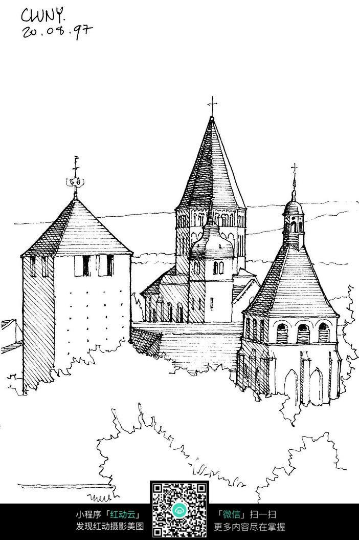 欧式塔楼建筑手绘线描图