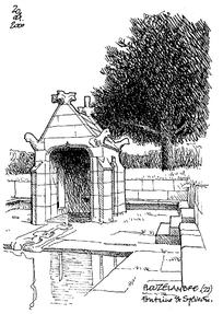 欧式亭子景观手绘线描画