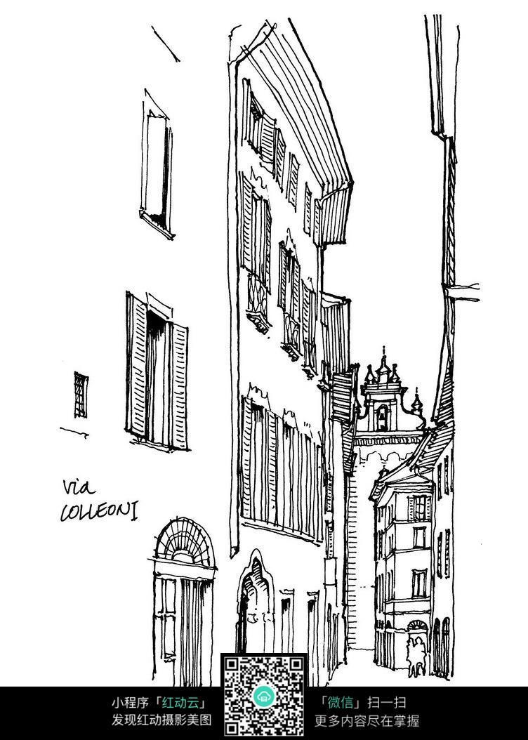 欧式外立面建筑手绘线稿画图片