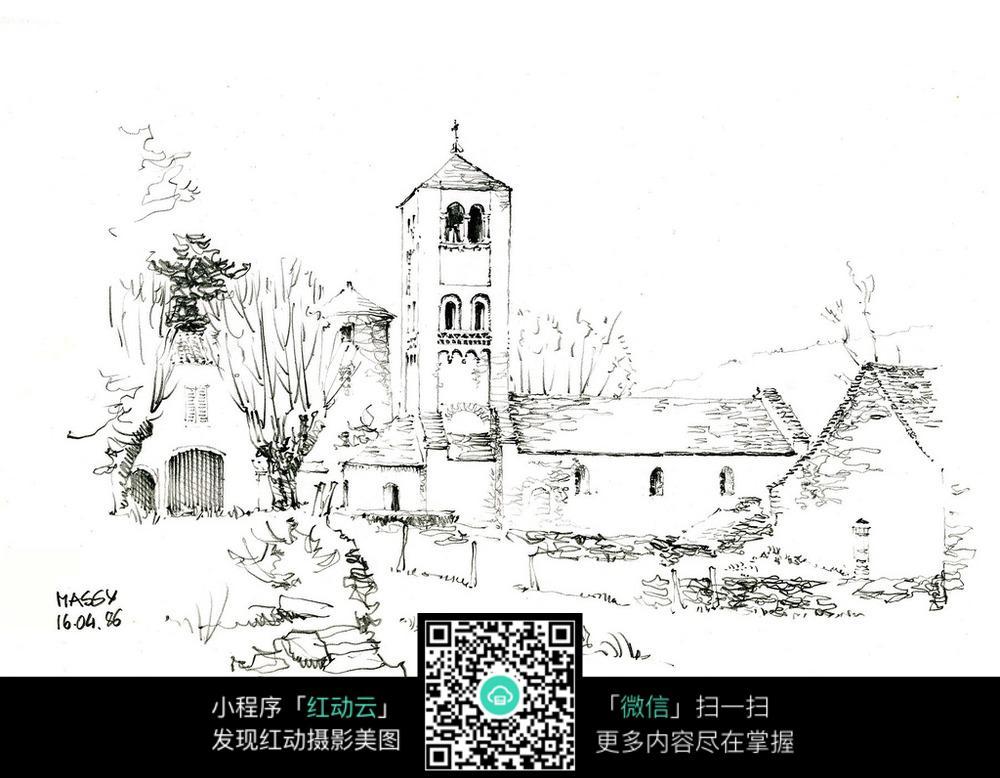 欧式乡村建筑手绘线描画图片