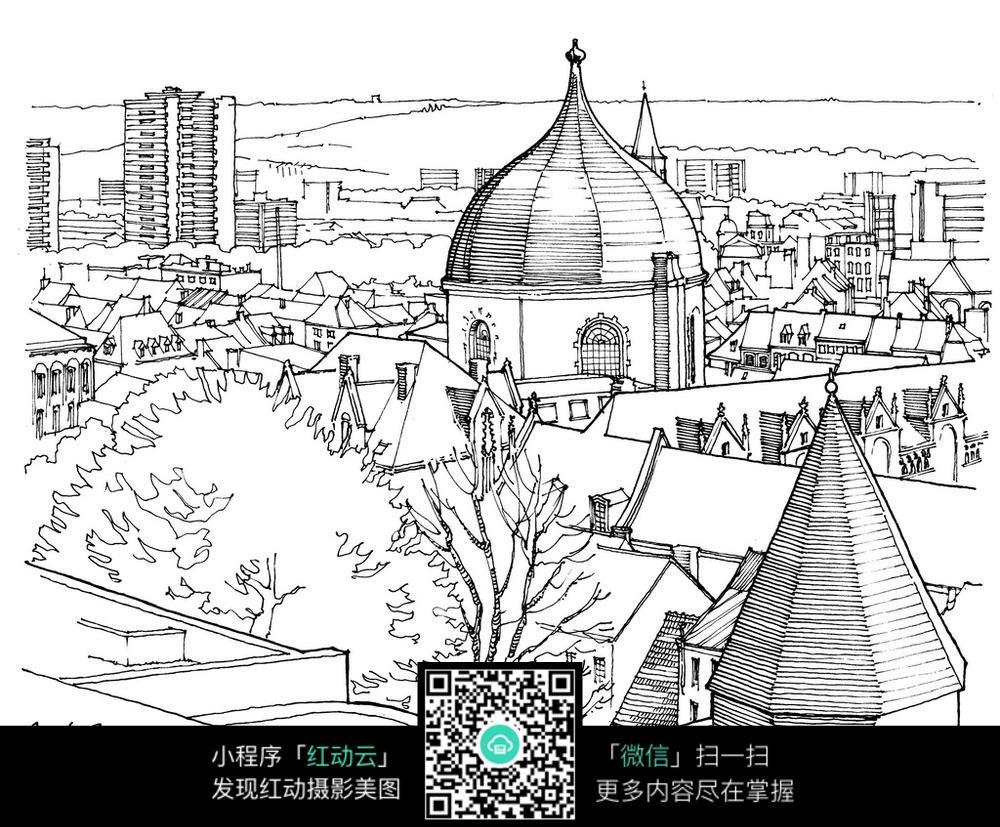 欧式圆顶尖顶建筑手绘线描画
