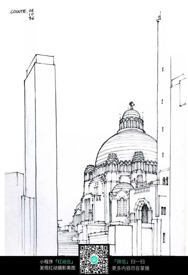 欧式圆顶建筑手绘图图片