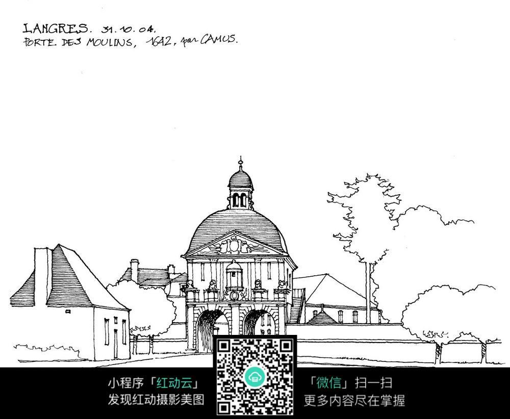 欧式圆顶建筑手绘线描画